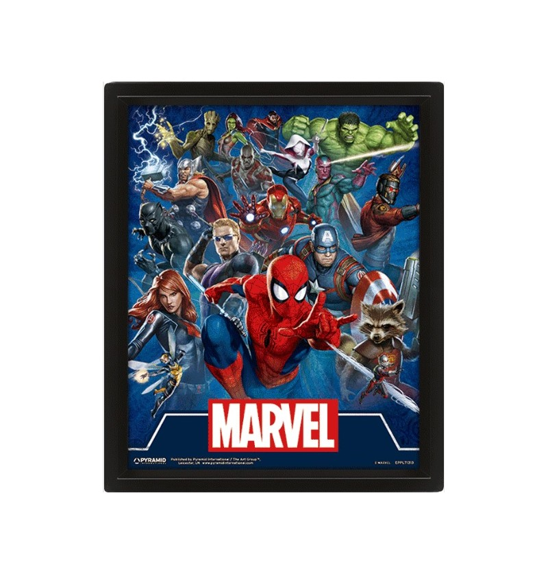 3D Marvel Heroes Wall Frame