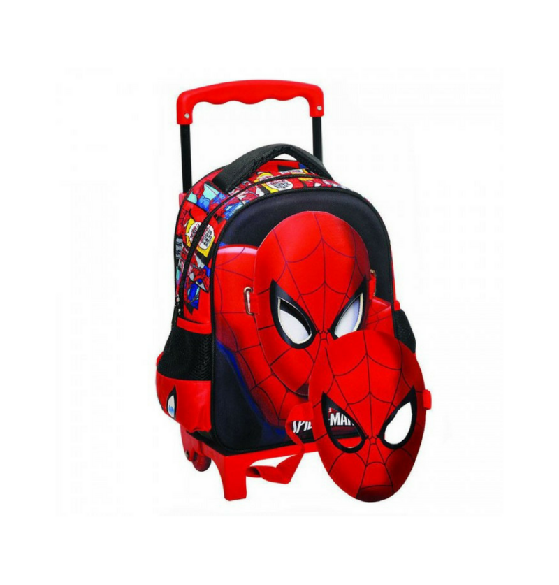 c1e357c18f Marvel Spiderman 3D Kindergarten Trolley School Bag with Spiderman Hero Mask